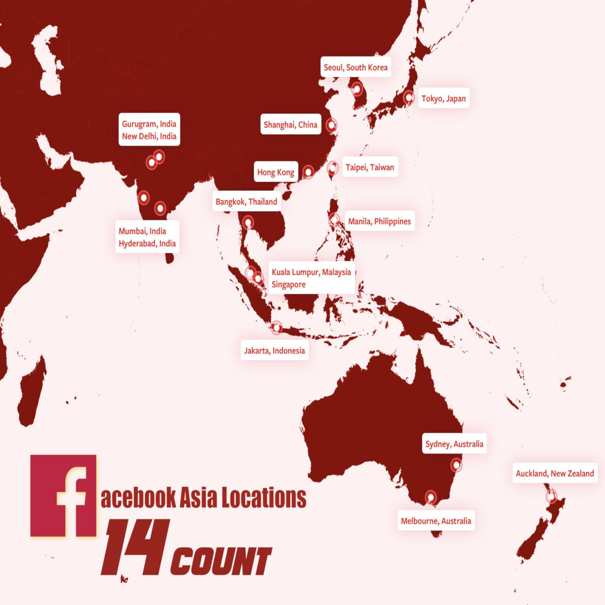 Map of Asian Continent showing a total of 14 Facebook locations.
