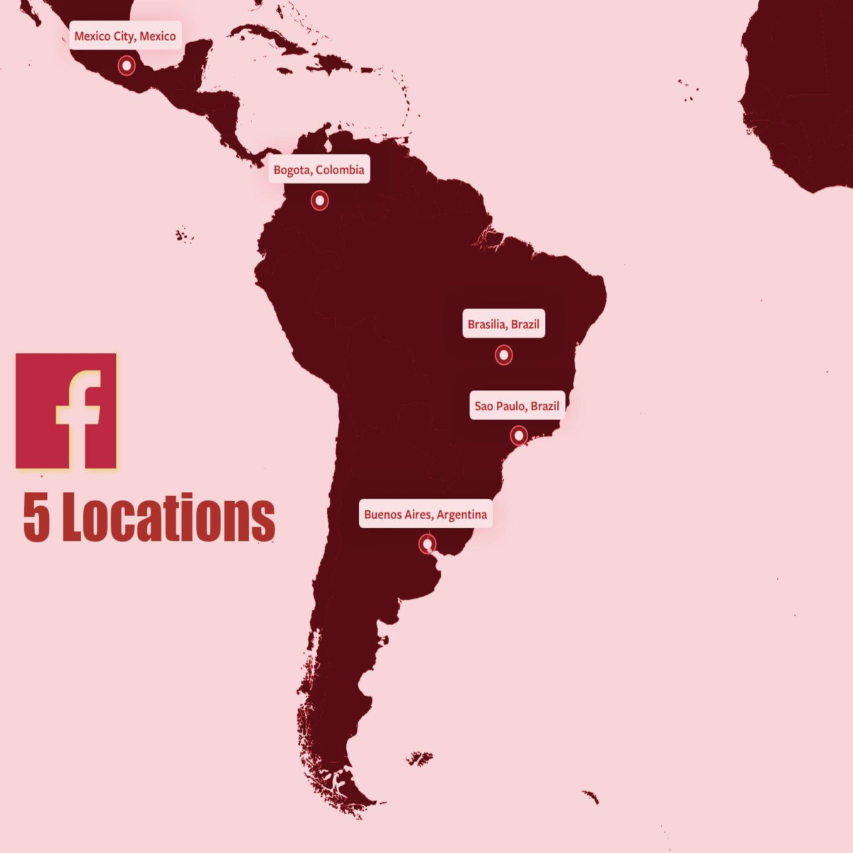 Facebook Location Map of South American Continent.